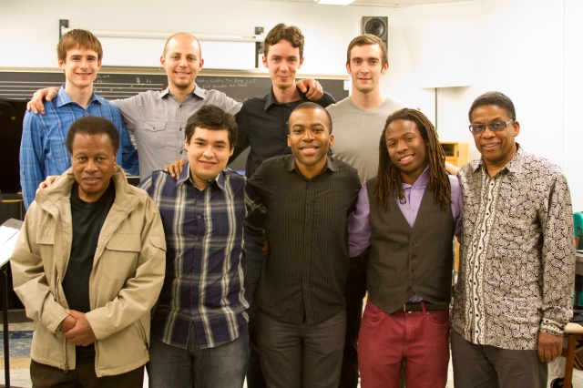 The first UCLA cohort of the Thelonious Monk Institute of Jazz Performance with Wayne Shorter and Herbie Hancock